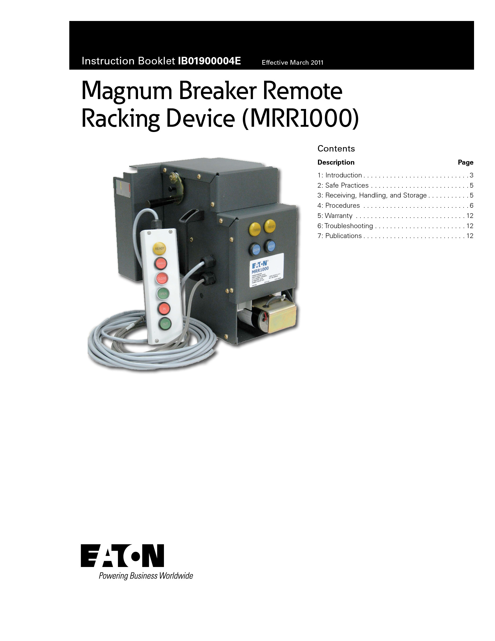 Savona Equipment Supplies Eaton Mrr1000 Remote Racking Device
