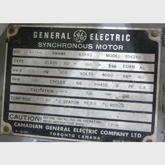General Electric Motor Supplier Worldwide Used 1100 Hp