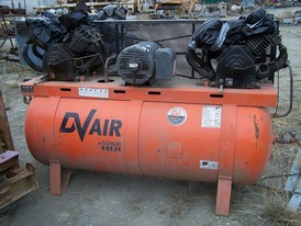 Used DVair Horizontal Air Compressor. 30 in. dia. X 7 ft. Long. Double Head 30 HP - 200 PSI.