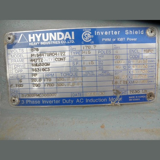 Hyundai Electric Motor Supplier Worldwide Used 200 Hp