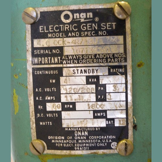 Onan Gas Generator Supplier Worldwide | Used 4 kW 120/208V ...