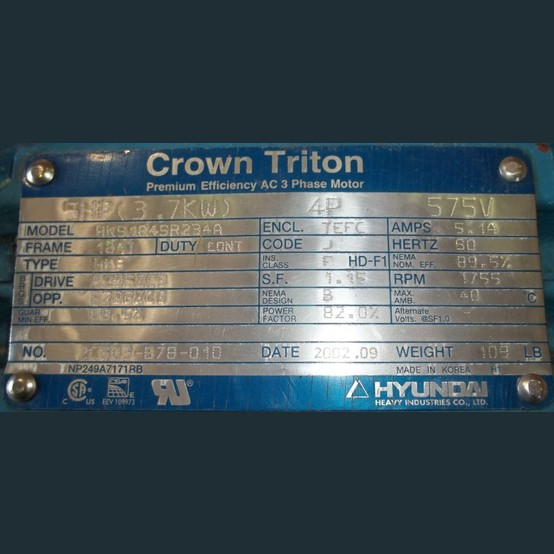 Crown Triton Electric Motor Supplier Worldwide Used 5 Hp