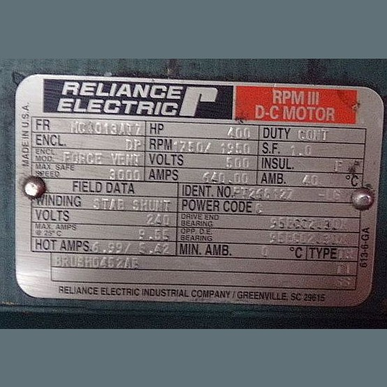 Reliance 400 hp super rpm dc motor for sale used for Abc electric motor repair
