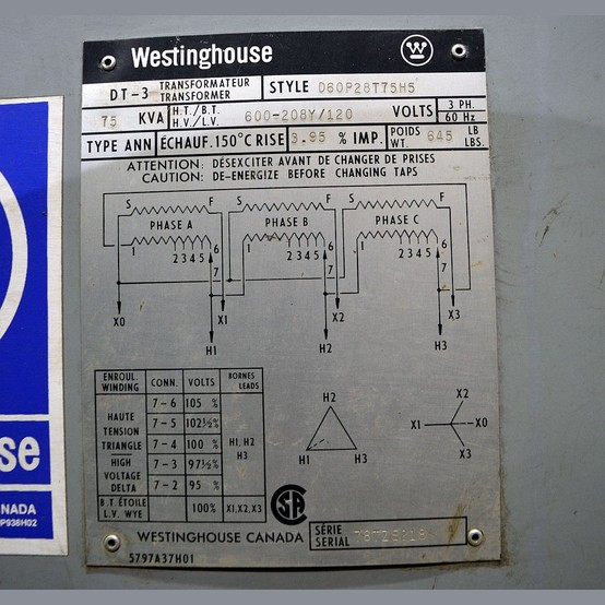 Used Westinghouse 75 Kva Transformer For Sale