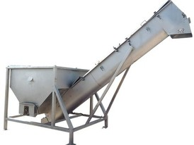 "RMF Stainless Steel Incline Screw Conveyor - 16"" X 15'-10"" L w/ Feed hopper"
