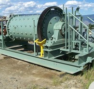 Used Allis Chalmers Ball Mill. 4 ft. dia. x 8 ft. Long. 60 hp Motor & Gear Reducer. Rubber Lined Shell. Steel Lined Heads. All Mounted on Common Skid.