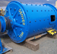 Denver 5 ft. Dia. x 8 ft. Long ball Mill. Driven by 75 HP Motor.