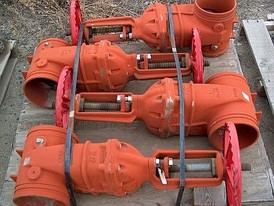 8 inch gate valves. Victaulic groove ends with rubber coated gate and poly coated housing
