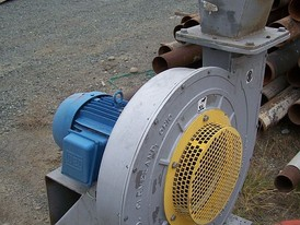 Used NAMC Turbo Blower. 19 in. dia. x 3 in. Wide Blades. 15 HP Direct Drive. Like New Condition.