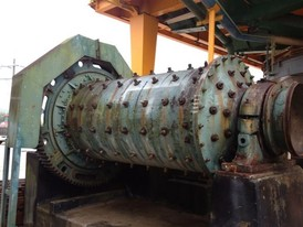4 ft. dia. x 7 ft. Hardinge Rod Mill. Single Piece Steel Shell. Babbit Bearings & Sole Plates. 75 HP Drive Motor.