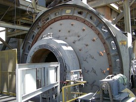Used Sag Mill. 20 ft. x 7 ft. Long. 800 HP. Steel Lined. Inching Drive.
