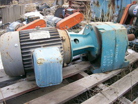 Inline Reducer.  Brook Hansen, 7:1 Ratio, 2 1/8 Output Shaft.  Direct coupled to 7.5 HP, 230/460 volt, 1750 RPM motor.