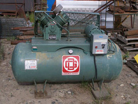 Gardner Denver V-Belt Drive Compressor. Model# ASDCAD. 5 HP 208-230/460 V - 1740 HP Motor. 2 Stage V Type Cast Iron Compressor Head.