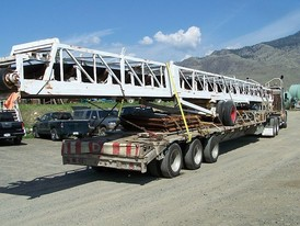 Used Stacking Conveyor. 36 in. x 70 ft. Long. Folding Truss Frame for Transport.