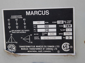 45 KVA 600 - 240 Volt 3 Phase Marcus Transformer For Sale