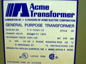 15 KVA Acme Transformer for Sale