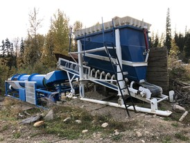 75 YPH Trommel Scrubber Wash Plant with Grizzly Hopper Feeder and Discharge Conveyor