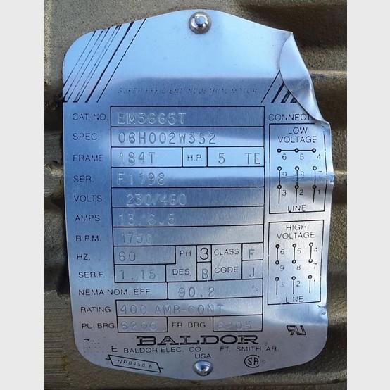 Baldor Electric Motor Supplier Worldwide Used Baldor 5